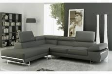 canapé d'angle, en cuir italien 5/6 places guci, gris foncé, angle gauche