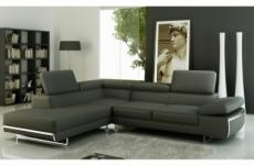 canapé d'angle en cuir italien 5/6 places varga, gris foncé, angle gauche