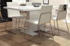 table à manger design laqué blanc à rallonges guzu