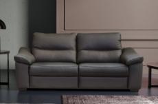 canapé 3 places en 100% tout cuir épais italien vachette hambourg, couleur anthracite