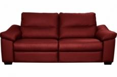 canapé 3 places en 100% tout cuir épais italien vachette hambourg, couleur rouge foncé