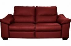 canapé 2 places en 100% tout cuir épais italien vachette hambourg, couleur rouge foncé