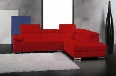 canapé d'angle en cuir italien 5 places helios, rouge