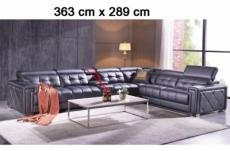paiement solde: canapé d'angle en cuir de buffle italien de luxe, 6/7 places, prestigia, sans la tablette, personnalisé sur demande du client, chocolat, angle droit, total commande 2198 euros