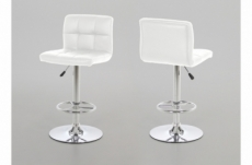 lot de 2 tabourets design en simili cuir blanc, horace