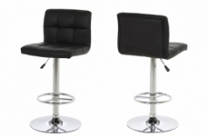 lot de 2 tabourets design en simili cuir noir, horace