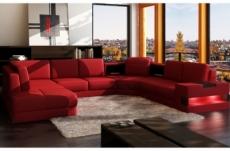 canapé d'angle en cuir italien 7/8 places houston, rouge