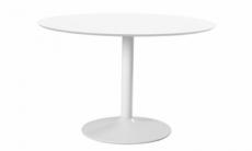 table à manger ronde ibiza, blanc plateau mdf