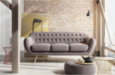 canapé 3 places en tissu de qualité indora, beige