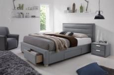 lit double en tissu de qualité insigna, gris, avec sommier à lattes, 160x200