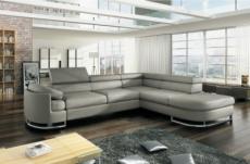canapé d'angle convertible islanda en simili cuir de qualité, gris clair