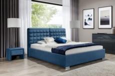 lit double en tissu velours de qualité islande, gris, avec sommier à lattes, 140x200