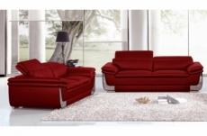ensemble canapé 3 places et 2 places en cuir italien buffle italina, couleurs bordeaux, avec surpiqure bordeaux