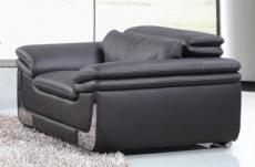 fauteuil 1 place en cuir italien buffle italina, noir avec surpiqure blanche