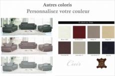 ensemble canapé 3 places et 2 places et fauteuil 1 place en cuir italien buffle italina, couleurs personnalisées avec surpiqure
