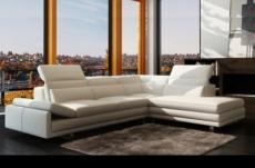 canapé d'angle en cuir italien 6/7 places izen, blanc