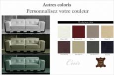 canapé 3 places en cuir italien buffle jason, couleur personnalisée