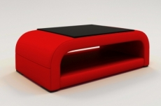 table basse design jersey, rouge