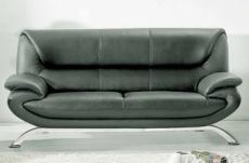 canapé 3 places en cuir italien jonah, gris foncé
