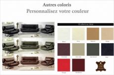 ensemble composé d'un canapé 3 places et d'un canapé 2 places et d'un fauteuil en cuir prestige luxe italien passy, couleur personnalisée