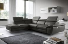canapé d'angle relax en 100% tout cuir épais de luxe italien avec relax électrique, 5/6 places kaster, anthracite, angle gauche