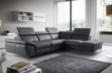 canapé d'angle relax en 100% tout cuir épais de luxe italien avec relax électrique, 5/6 places kaster, anthracite, angle droit
