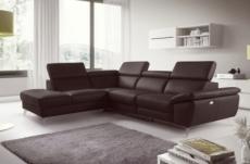 canapé d'angle relax en 100% tout cuir épais de luxe italien avec relax électrique, 5/6 places kaster, chocolat, angle gauche