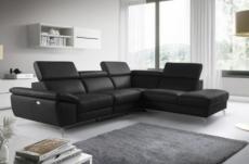 canapé d'angle relax en 100% tout cuir épais de luxe italien avec relax électrique, 5/6 places kaster, noir, angle droit
