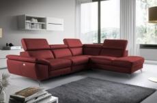 canapé d'angle relax en 100% tout cuir épais de luxe italien avec relax électrique, 5/6 places kaster, rouge bordeaux, angle droit