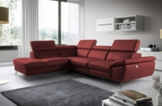 canapé d'angle relax en 100% tout cuir épais de luxe italien avec relax électrique, 5/6 places kaster, rouge bordeaux, angle gauche