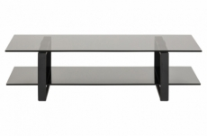 meuble tv design en verre et acier noir mat de qualité, katarine