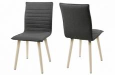 lot de 2 chaises design tissu gris clair et pieds pigmentés blancs, kenza