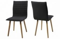 lot de 2 chaises design tissu gris foncé, kenzi