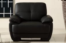 fauteuil 1place en cuir italien buffle leandro, noir