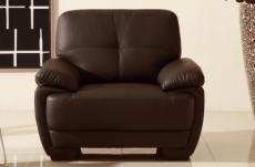 fauteuil 1place en cuir italien buffle leandro, chocolat