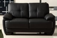 canapé 2 places en cuir italien buffle leandro, noir