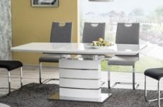table à manger extensible léo, finition vernis blanc, en 160 cm extensible à 220 cm