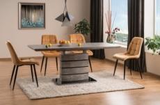 table à manger extensible léo effet béton, 140 cm extensible à 180 cm