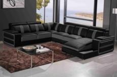 canapé d'angle cuir buffle italien 7/8 places , leonardo, couleur noir et gris foncé, angle gauche