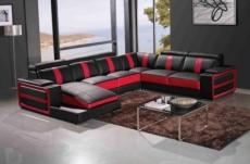 canapé d'angle cuir buffle italien 7/8 places , leonardo, couleur noir et rouge, angle droit