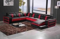 canapé d'angle cuir buffle italien 7/8 places , leonardo, couleur noir et rouge, angle gauche