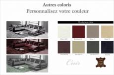 canapé d'angle cuir buffle italien 7/8 places , leonardo, couleur couleur personnalisée, angle gauche