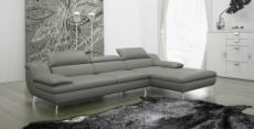 canapé d'angle en cuir italien 5 places liberty, gris clair