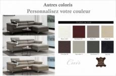 canapé d'angle en cuir buffle italien de luxe 7 places lido, couleur personnalisée, angle droit