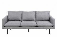 canapé 3 places en tissu de qualité elina, gris clair