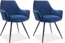 lot de 2 chaises lina en tissu velours de qualité, couleur bleu