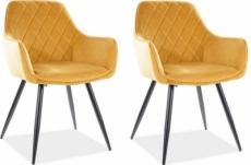 lot de 2 chaises lina en tissu velours de qualité, couleur curry