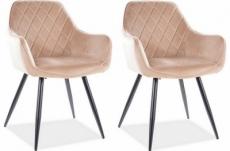 lot de 2 chaises lina en tissu velours de qualité, couleur beige