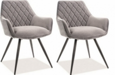 lot de 2 chaises lina en tissu velours de qualité, couleur gris