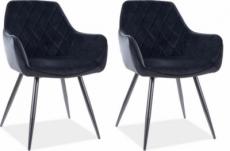 lot de 2 chaises lina en tissu velours de qualité, couleur noir